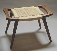 Danish modern style foot stool walnut wood