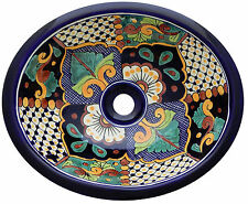 "Mexican Bathroom Ceramic Sink Talavera Handmade 17"" x 14"" # 30"
