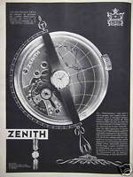 PUBLICITÉ 1958 MANUFACTURE ZENITH HORLOGERIE SUISSE  - ADVERTISING