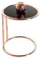 Table d'appoint basse plaque art déco design verre noir / cuivre rétro canapé