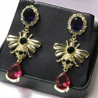 Sparkling Red Ruby With Onyx Drop/Dangle Earring Women Jewelry 14K Gold Plated