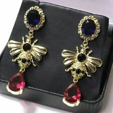 Pear Red Ruby Round Onyx Oval Sapphire Dangle Earrings Women Jewelry Gold Plated