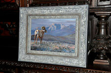 Fine Art Oil Painting of Mountain Sheep  by Well listed Artist L inda B esse