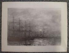 Dessin de Christian Frain grands voiliers au mouillage, 1974