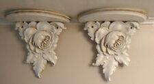 Vintage Floral Wall Shelves Ivory W/Tan Detail Wood & Molded Flower