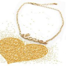 Letter Charm Adjustable Anklet Bracelet Women's Gold Plating Alloy Chain Love