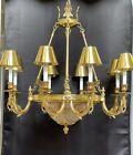 Vintage Stately French Empire Bouillotte Brass Bronze Chandelier 11 Light