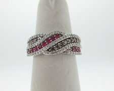 Genuine Champagne White Diamonds Red Rubies Solid 14k White Gold Ring