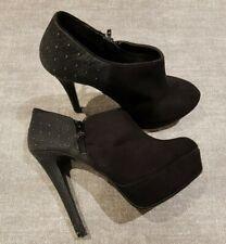 New Look size 6 (39) black faux suede side zip platform stiletto ankle boots
