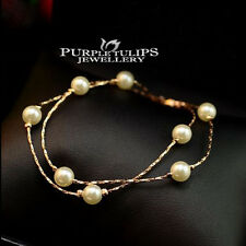 18CT 18K Rose Gold GP Elegant Double Layer Pearl Chain Bracelets For Ladies