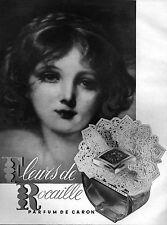 ▬► PUBLICITE ADVERTISING AD Parfum Perfume CARON Fleurs de Rocaille 1951