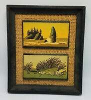Vintage Walton Butts Mounted and Framed Beach Ocean Prints Serigraph Midcentury