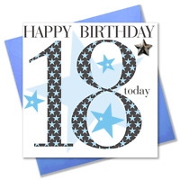Birthday Card, Age 18 Boy, Happy 18th Birthday, Embellished with a padded star