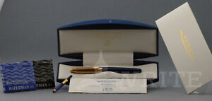 NEW! FOUNTAIN PEN WATERMAN EDSON SAPPHIRE BLUE GT NIB F