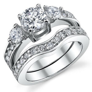 0.75 Ct Round Cubic Zirconia Sterling Silver 925 Engagement Ring Bridal Set