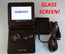 MINT Nintendo Game Boy Advance SP - Black GLASS Screen Handheld AGS-101 BRIGHTER