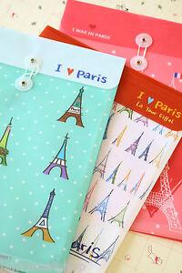 Cartoon File Bag cute Eiffel Paris pvc plastic file case kawaii string envelope
