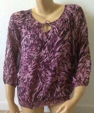 APT 9 Womens Size Small Sheer Keyhole 3/4 Sleeve Peasant Blouse Shirt
