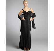 Alberto Makali Black Silver Speckled Embellished Jersey Knit Gown 10 NWT $550