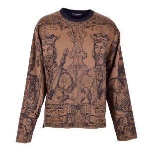 DOLCE & GABBANA Oversize King Cashmere Sweater Sweatshirt Brown Black 07312