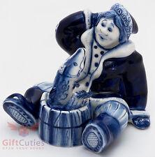 "Gzhel porcelain Figurine Peasant & Pike Folk fairy tale ""По щучьему веленью"""