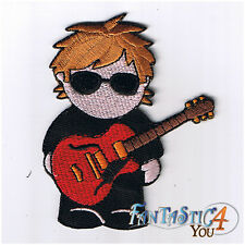 BOY GUITAR ROCKER MUSIC PLAYER CARTOON CUTE APPLIQUE EMBROIDERED IRON ON PATCH