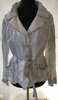 MONARI weiße Damen Jacke Blazer Gr 40 LEINEN tolle blaue Nähte Jeansjacken Look