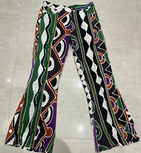 TROUSERS FLARES PANTS LARGE VINTAGE HARLEQUIN BOHO HIPPY 70s GYPSY COTTON NWT