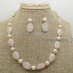 13x18mm Oval Pink Rose Quartz & 6-7mm White Pearl Necklace Bracelet Earrings Set