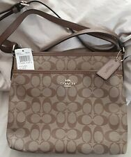 NEW Coach Signature Zip File Crossbody Bag Purse F29210 $228 Khaki/Saddle 2