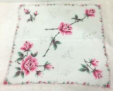 Vintage Hankie Shades of Pink Roses w Rose Band Edge 15 Inches
