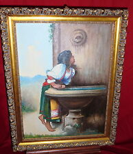 Framed Oil Painting On Textured Panel - Girl Taking A Drink - F. Neff