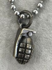 Steel Flame Hand Grenade Frag Pendant Royal Bronze Dogtag Ball & Chain Necklace