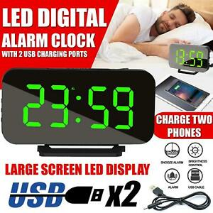 LED Digital Table 3D Wall Clock Large Display USB Alarm Clock Brightness Dimmer