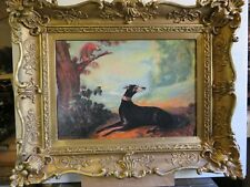 English school  oil painting of a Greyhound dog and parrot in a landscape