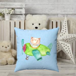 Bear Airplane Childrens Throw Pillow - Nursery Room - Kids Bedroom Decor - Gift