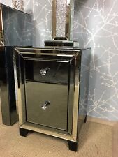 PAIR of Arctic Noir Smoked Glass Mirrored Trim 2 Drawer Bedside Chest Cabinet