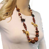 """Safari African Wild Animal Carved Wood Beaded Collar Necklace Vintage 31"""""""