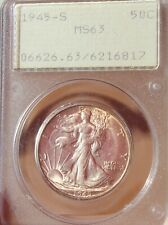 1945-S WALKING LIBERTY HALF GRADED MS-63 PCGS w/LIGHT TONING Early PCGS HOLDER