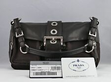 Womens Prada Bag Purse Handbag Brown Leather Canvas 2 Front Pockets Italian Made