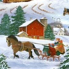 SLEIGH RIDE SNOW BARNS HORSES SCENIC FABRIC