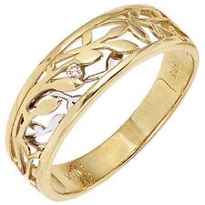 Diamantring bicolor 1 Diamant Brillant 0,02ct. 585 Gold Gelbgold Weißgold 39553