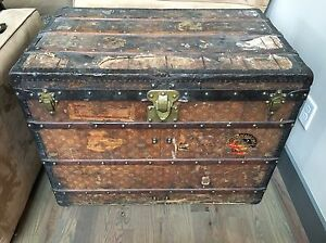 LOUIS VUITTON Antique Monogram Travel Steamer Trunk Large RARE SIZE Chest LV