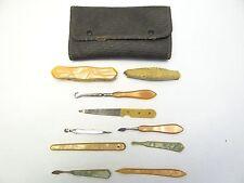 Vintage Old Used Cloth Nail File Travel Grooming Kit Tool Set Antique? Bakelite?