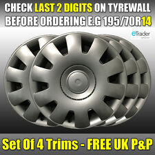 "VW Polo Wheel Trims 14"" 14 Inch Hub Cap Cover Trim X 4 Set Trim Qty 4 Volkswagen"