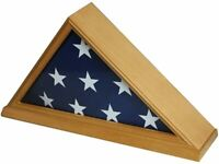 High Quality Burial/Memorial Flag Display Case for 5'X9.5' Folded, Oak Finish