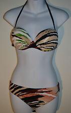 Slelei Bikini Set Padded Halter Bikini Top 34B + XL Briefs RRP £64.20 Animal