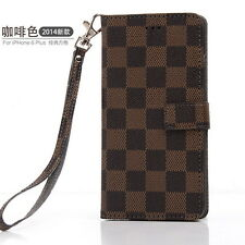 Luxury Leather Plaid Wallet Flip Phone Case for iPhone X XS Max XR 7 8 & Samsung