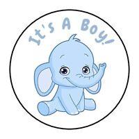 30 Baby Elephant it's a boy shower stickers favors bag lollipop labels blue
