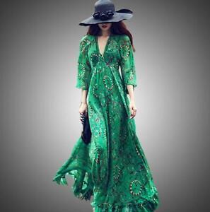 Green Womens long Bohemia beach summer printed Chiffon short/long sleeve dress #